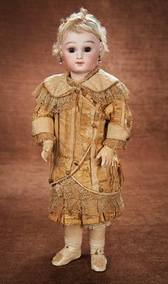 Early French Bisque Bebe by Emile Jumeau, Original Costume and Signed Jumeau Shoes 6500/8500