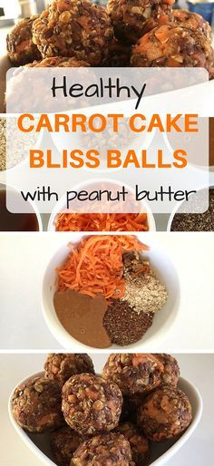 Carrot cake bliss balls with peanut butter, flaxseed, carrot, walnuts and oats! Gluten free, lactose free and low FODMAP (peanut free snacks maple syrup) Peanut Butter Recipes, Raw Food Recipes, Cooking Recipes, Healthy Recipes, Protein Snacks, Vegan Snacks, Protein Ball, Healthy Carrot Cakes, Healthy Sweets