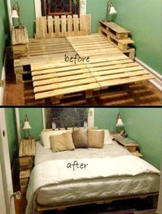 DIY Pallet Bed Frame...these are the BEST Pallet Ideas! #DIYHomeDecorFrames