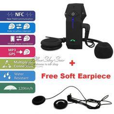 1KM Motorcycle Helmet Bluetooth Intercom Headset Interphone NFC1Soft Headphone