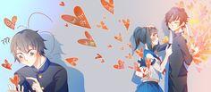 Love triangle by xuyijingyuan on DeviantArt Yandere Simulator Characters, Yandere Simulator Memes, Friend Cartoon, Cartoon Boy, Sword Art Online, Anime Love Triangle, Ayano X Budo, Animes Yandere, Sarra Art