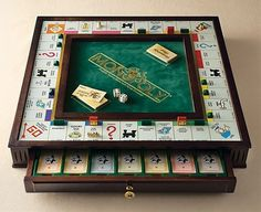I feel like this is way more grown up than a regular monopoly! Monopoly Premier Collector's Edition Monopoly Board, Monopoly Game, Wood Projects, Woodworking Projects, Wooden Board Games, Cool Board Games, Gaming, Table Games, Board Game Table
