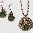 Copper Wire Aventurine Floral Pendant and Earring Set Sterling Beads