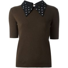 Nº21 studded collar knit T-shirt ($215) ❤ liked on Polyvore featuring tops, t-shirts, green, green top, studded tee, collar t shirt, collar top and studded top