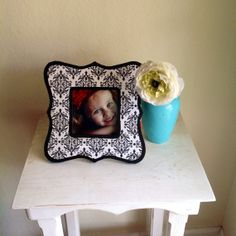 Black and White Damask Pattern Picture Frame by StellabytheSea, $15.00