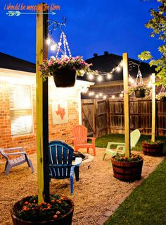 Love this simple and cute outdoor area. Outdoor lighting that's warm and inviting