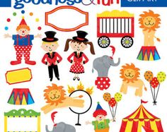 Circus Clipart Clown Carnival Instant Download by yamdaisydesigns