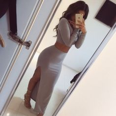 Kylie Jenner Grey two piece maxi split skirt & long sleeve top