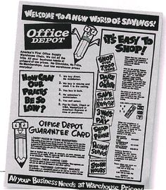 In this old Office Depot ad, you'll see our former mascot, Stubby the talking pencil, explaining how we can offer such low prices!