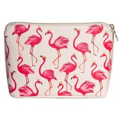Flamingo Makeup Bag - Sara Miller (40 CAD) ❤ liked on Polyvore featuring beauty products, beauty accessories, bags & cases, toiletry kits, wash bag, cosmetic bags, purse makeup bag and travel toiletry case