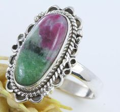 RARE & Astonishing Ruby Ziosite Filigree Ring~925 SS~Sz. 8.75~SALE!
