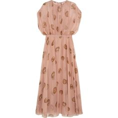 Valentino Printed silk-chiffon gown (10,370 CAD) ❤ liked on Polyvore featuring dresses, gowns, long dresses, valentino, pink, pink slip, red slip dress, long pink dress and valentino gown