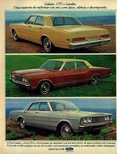 Carros Galaxie, LTD e Landau, Ford #Brasil #anos70 #retro #anunciosAntigos #vintageAds