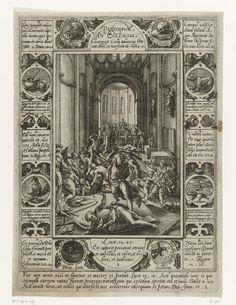 Hendrick Goltzius | Meningsverschillen binnen de kerk, Hendrick Goltzius, 1578 | Allegorieën met een centrale voorstelling van een kerkinterieur waar verschillende bijbelse figuren elkaar te lijf gaan met daaromheen een omlijsting waarin citaten uit de bijbel gecombineerd zijn met de verbeelding van bepaalde gebeurtenissen uit de bijbel. In de marge onderaan drie bijbelteksten in Latijn.