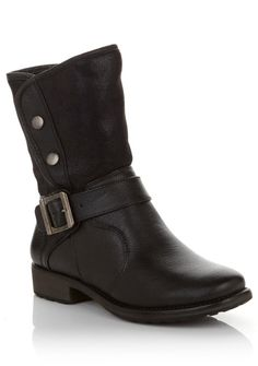 Bring on the cold weather! With the Sarah boot, you've got style and comfort to spare!. Made with water-resistant leather, a faux shearling lining and a cushioned footbed, this convertible boot will keep you warm and dry! Wear it with the cuff snapped or folded over to suit your personal style on any given day!