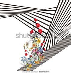 Digital Textile Design Motif Botanical Flower Stock Illustration 1933736894 Pattern Design, Print Design, Boarder Designs, Black Leaves, Design Seeds, Botanical Flowers, Textile Design, Hand Embroidery, Royalty Free Stock Photos