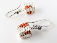 Origami earrings Chinese paper lantern cube earring/ by Paperica, https://facebook.com/made.with.paper