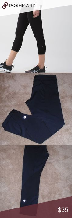 LULULEMON BLACK RUN INSPIRE CROP / LEGGINGS ~ 8 Comfortable style with wicking fabric on the legs ~ sweat-resistant Back zip pocket ~ 2 inside waist pockets Good used condition....inside cord has been removed....not a big deal..........a few loose stitched on the back....see last pic lululemon athletica Pants Leggings