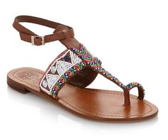 "Whether you're headed to a music festival or looking to add a boho vibe to your look, these Vince Camuto ""Malda"" Beaded Leather Toe-Ring Thong Sandals are a must-have this spring and summer!"