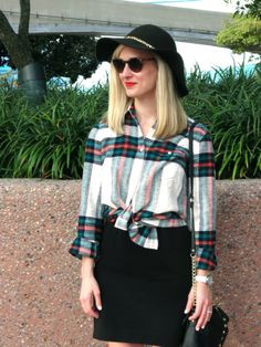 plaid knotted shirt over dress, felt hat