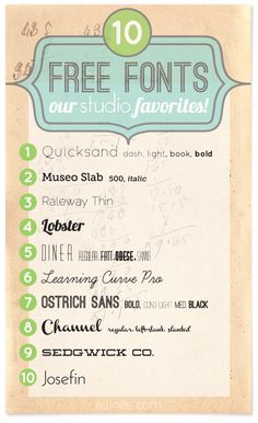 Our Top 10 Free Font Picks! ((the Elli Blog))  ~~ {10 free fonts w/ easy download links}