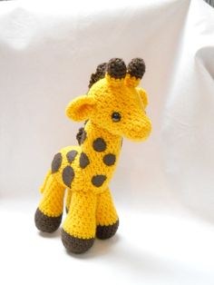 giraffe, Amigurumi, crocheted animal, plush animal, yellow, art doll, soft sculpture, Gerry