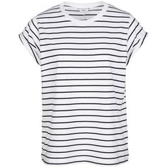 ENANDY TEE STRIPE 5915 (38 NZD) ❤ liked on Polyvore featuring tops, t-shirts, shirts, white striped t shirt, short sleeve tee, white t shirt, white tops and loose fit t shirts