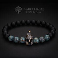 Spartan Helmet Bracelet, Mens Bracelet, Scorpion Soldier, Mens Warrior Bracelet, Stretch Bracelet, Elven Helmet , Wholesale Available by JuniperandEloise on Etsy