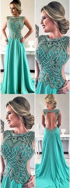 A-line Scoop Floor-length Sleeveless Chiffon Prom Dress/Evening Dress # ON084 #fashion #long #prom #beading #green #A-line #Evening