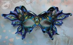 Butterfly Fairy Leather Mask Cobalt Moth With Peacock by beadmask