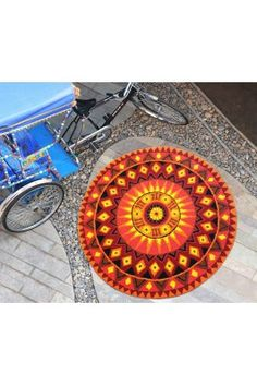 Add a fresh touch to your home decor item by bringing this red and yellow Oporto Sunset Pet Yarn handloom Rug-5 in round shape. #handloomrugsonline #designerrugs #roundrugs #rugsonline #onlinerugs Shop here-  https://trendybharat.com/festival/handloom/oporto-sunset-pet-yarn-rug-5round-oporto-sunset-5round