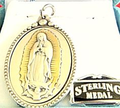 "$89 Our Lady Of Guadalupe Medal STUNNING HEIRLOOM EMBOSSED STERLING SILVER PENDANT! VERY DETAILED!  Hand finished gold accents on sterling silver. Medal is encased in an oxidized silver plated copper casing. Almost 2"" tall , Artisan handcrafted in Italy"