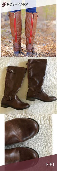 New! Get The Look- Tall Brown Boots w/ Red Zipper New Listing! Tall brown boots with red zipper detail. Great condition. Very stylish and on trend. Size 6. Any questions, please let me know! First and last photos are styling inspiration- please see real life photos for exact boots! target Shoes