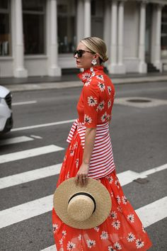 A Red Floral Dress by Ganni // Summer in SoHo on Atlantic-Pacific // Click to see more floral dresses