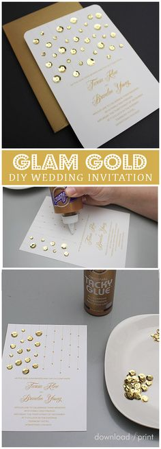 It's sparkly, sophisticated and so easy to make! This invitation is perfect for a wedding, birthday, new year's party, black tie ball... any excuse you've got to get together! http://www.downloadandprint.com/blog/diy-glam-gold-wedding-invitation/