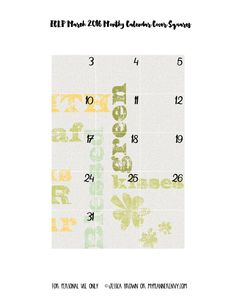 My Planner Envy: March 2016 Monthly Cover Squares - Free Planner Printable