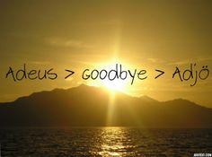Adeus > Goodbye > Adjö