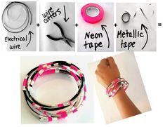 Mixed with some fun neon and metallic tape, this combo is spot on!  Make your bangle bracelet as big as you wish.  Get creative with other colored tapes and colored wires.