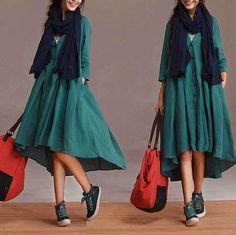 New personalized linen blue cardigan dress / sleeve por dreamyil, $116.00