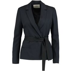 Maje - Belted Crepe Blazer featuring polyvore women's fashion clothing outerwear jackets blazers midnight blue crepe blazer crepe jacket belted blazer double breasted blazer maje