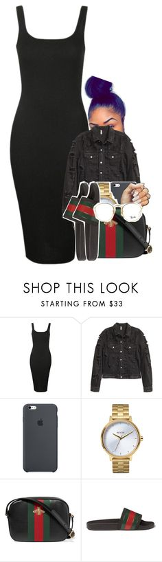 """Untitled #1574"" by toniiiiiiiiiiiiiii ❤ liked on Polyvore featuring Topshop, Nixon, Gucci and Ray-Ban"