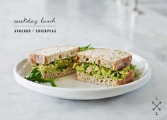 Avocado and chickpea salad sandwich.
