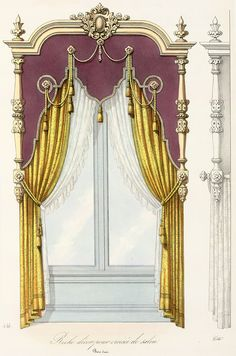 I'm not sure about all those tassel-ropes and carvings, but This is a good valance and curtains combo Victorian Curtains, Vintage Curtains, Small Curtains, Drapes Curtains, Drapery, Curtain Styles, Curtain Designs, Window Coverings, Window Treatments