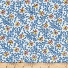 Nana Mae 1930's Medium Floral Blue  from @fabricdotcom  Designed by Nana Mae for Henry Glass & Co., this cotton reproduction print fabric features both small and large floral blooms perfect for spring. Perfect for quilting, apparel and home decor accents. Colors include white, blue, yellow and pink.