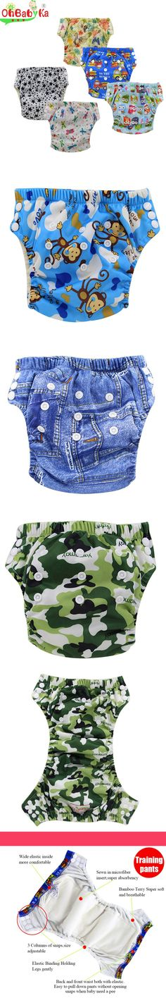 Ohbabyka Brand Bamboo Resuable Waterproof Snaps Baby Potty Training Pants Larger Size Adjustable Washable 12 Prints Baby Care