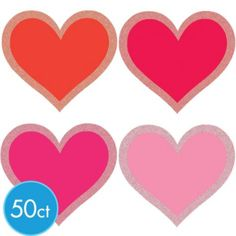 heart cutouts 2 12 in 50ct party city valentine decorationsmini - Party City Valentine Decorations