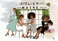 Girls from Atelier Noire Wine Bistro, French Wine, Afro Art, Fine Art Photo, Paris Photos, Contemporary Paintings, Art Day, New Art, Modern Art