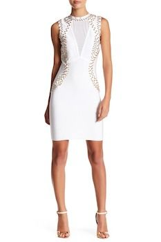 Wow Couture Mesh Panel Stud Embellished Dress