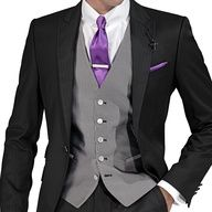 dark suit and grey waist coat combo