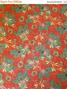 ALL STORE SALE-- Cotton Fabric, Home Decor, Quilt, Craft, Christmas, Seasons Greetings, Pine and Bells, Red by Fabri-Quilt, Fast Shipping